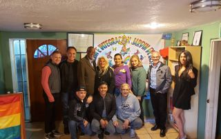 The team demonstrates solidarity with Equality California and Jardin Mariposas. Those pictured include Rick Zbur - Executive Director of Equality California, Samuel Garrett-Prate - Communications Director Equality California, and Councilmembers Curren D. Price Jr. and Mitch O'Farrell.